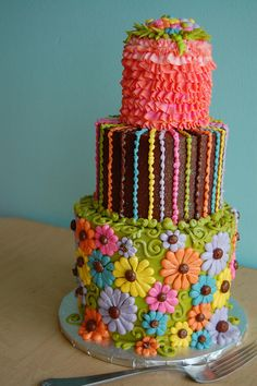 @KatieSheaDesign ♡♡ #Cakes♡♡  colorful and pretty cake
