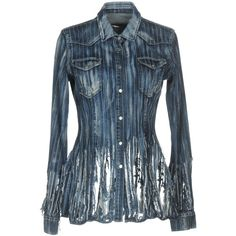 Dondup Denim Shirt ($205) ❤ liked on Polyvore featuring tops, blue, distressed denim shirt, long-sleeve shirt, blue denim shirt, ripped shirt and shirt top