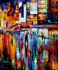THE VIBRATION OF THE NIGHT - PALETTE KNIFE Oil Painting On Canvas By Leonid Afremov