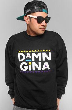 Adapt Advancers — Damn Gina (Men's Black Crewneck Sweatshirt)