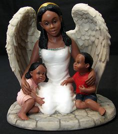 Guardian Angel Sheltering Watching Children Figurine African American Black NEW | eBay