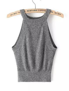 Women Sexy Halter Knit Elastic Solid Color Sleeveless Tank Top