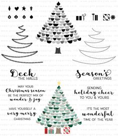 Very Merry Stamp Set: Papertrey Ink Clear Stamps Dies Paper Ink Kits Ribbon