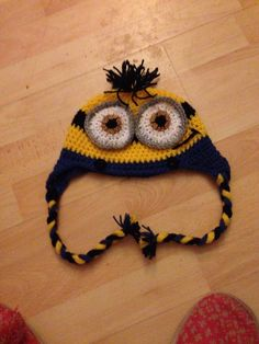 Minion inspired hat with ties