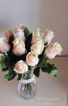 Купить Цветы из полимерной глины. Керамическая флористика Розы сорта Талея - бледно-розовый, розовый