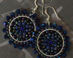 Seed Bead Earrings Big Bold Black and WhiteDisc by WorkofHeart