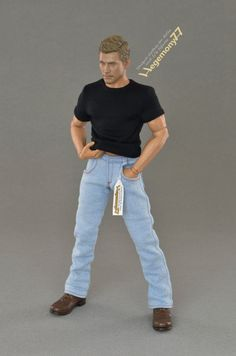 """1:6th scale light blue jeans pants / trousers   Size: sixth scale ~ 12 inch collectible movable male action figures for example but not limited to: Hot Toys TTM 19, ZY Toys B005 """"VER 2.0A"""", COOMODEL B34003 """"Muscle male"""", World Box """"durable"""" ver. 2 VT002...  with 4 pockets, front velcro closure and belt loops"""