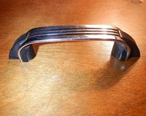 Vintage Chrome Black Lines Plastic Metal Pull Drawer Handle Mid Century  Modern Kitchen Knob Hardware Door