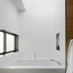 What stacked 2x8 tile looks like. Straight-set wall tile inspiration | EmilyMcCall.com