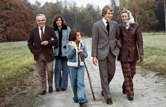 Rainier and Grace stroll the French countryside with their children, from left, Caroline, Stephanie, and Albert, 1973. - TownandCountryMag.com