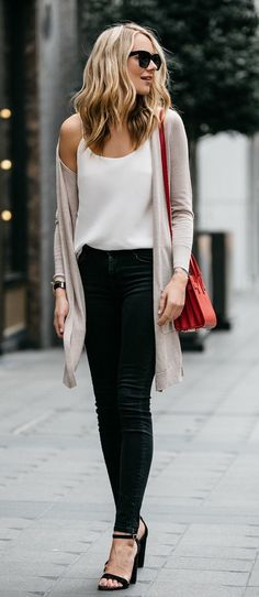 Skinny Jeans, White Tank or Camisole, Long Neutral Cardigan & Black Sandal-heels.