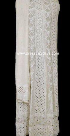 Buy Pure Georgette Party Wear Anarkali with Chikankari Embroidery Embellished with Mukaish Kamdani Badla work. designer dress online