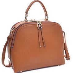 e1972b4fe6ad Dasein Womens Classic Buffalo PU Leather Domed Satchel Handbag Work Bag  Shoulder Bag with Shoulder Strap