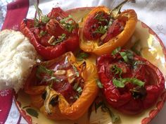 Tomato- Stuffed Roasted Peppers