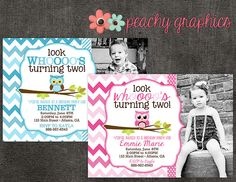 Owl Chevron Birthday Party Invitation with Photo by PeachyGraphics, $10.00