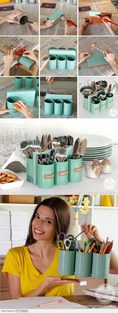 DIY Tin can Organizer. I have to do this! It would be super for having large groups of people over and it even looks a bit retro with those colors. ♥ ~Lisa