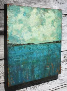 abstract painting ocean painting landscape by SageMountainStudio