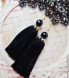 """Серьги ручной работы. Ярмарка Мастеров - ручная работа. Купить Серьги кисти """"Black Edition"""" с черным Агатом. Handmade. Черный"""