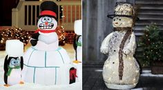 Classic  Snowman Christmas decorations in the yard