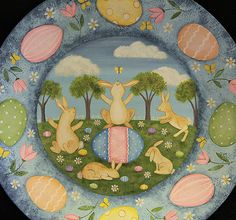 Spring Folk Art Painting Wood Plate MADE TO by RavensBendFolkArt