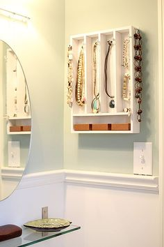 cutlery tray made into a jewelry organizer. Must do this in my bathroom!