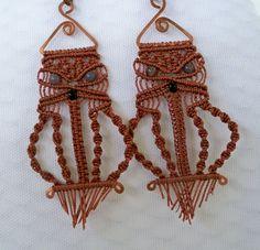 Brown Macrame Owl Earrings by MossyFrog