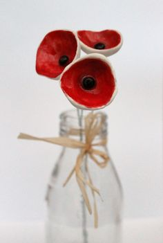 Three red porcelain poppies - ceramic flowers