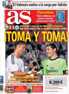 Los Titulares y Portadas de Noticias Destacadas Españolas del 9 de Agosto de 2013 del Diario AS ¿Que le pareció esta Portada de este Diario Español?