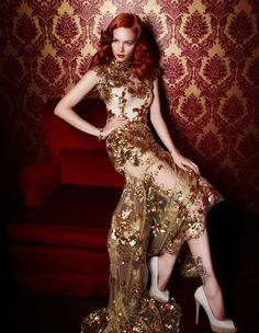 Lace goldy dress