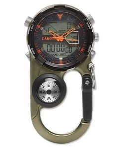 All the features an angler needs incorporated into a sleek carabiner design that clips securely to a belt loop, vest, or gear bag. Housed in a solid aluminum casing is a multifunction digital watch with an electroluminescent dial light, which includes a dual time, countdown timer, and alarm functions. Also cleverly incorporated is a compass and thermometer. Domed mineral crystal. Case diameter 45mm. Water resistant to 100 feet. Imported.