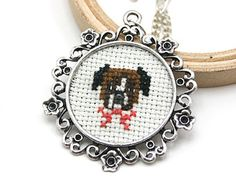 Cute boxer cross stitch necklace - Hand Embroidered Necklace - Dog cross stitch necklace