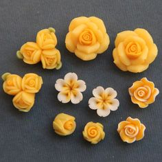 10pc SetYellowPolymer Clay DIY Flowers for Earring by naturaler, $6.99