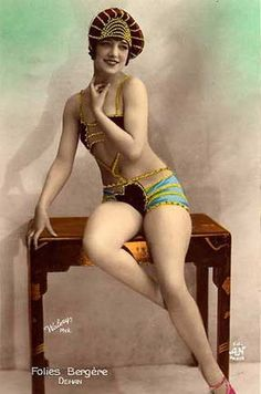 Vintage Follies Bergere  Dancer postcard