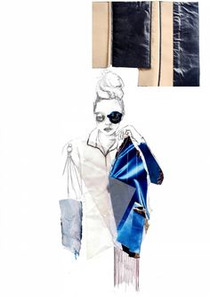 Fashion Sketchbook - mixed media fashion illustration; fashion portfolio // Jennifer Hayward