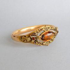 Art Nouveau Bracelet. Leaves. Amber Glass Stone. Bridal by pinguim