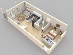One bedroom floor plan. Awesome! Except I would mpve the livingroom to the left of the kitchen