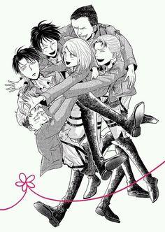 Sooooooooooo sweeeeeeeeeet! Original squad Levi group hug/let's attack Heichou ;)   SNK