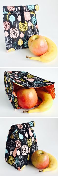 Miss Zuckerlich madeforgood Lunch Bag - reusable bag for food or fruit - kids or adults - environmentally friendly design - handmade Christmas gift or stocking stuffer from Etsy