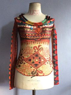 35490ac0afa Jean Paul Gaultier tattoo top Gaultier Soleil sheer mesh top Indian print 90s  Gaultier stretch Indian pattern vtg JPG