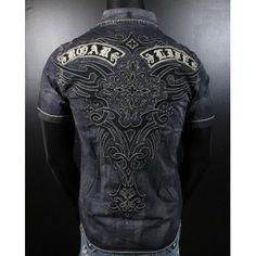 Roar button down shirts for men embroidered | Mens Roar Woven Short Sleeve Shirt Embroidered Devotion in Black ...