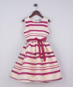Raspberry Stripe A-Line Dress - Toddler & Girls #zulily #zulilyfinds
