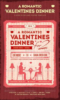 Romantic Valentine's Dinner is a set of promotional items best suited for a restaurant or cafe dinner party. The items have a retro look and feel to help your business stand out in the crowd.