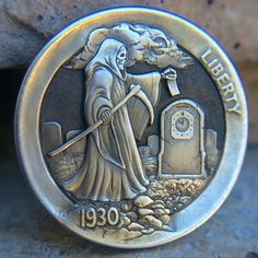 "CHRIS ""DECHRISTO"" DEFLORENTIS HOBO NICKEL - WORKING THE GRAVEYARD SHIFT - 1930s BUFFALO NICKEL"