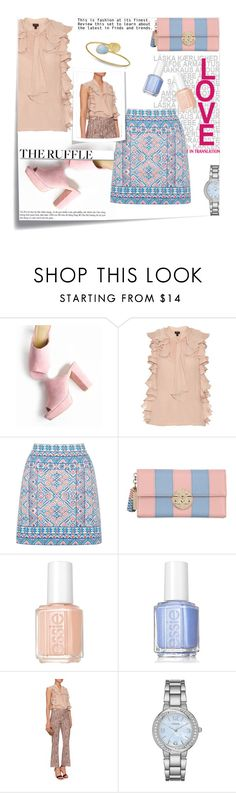"""""""Untitled #1196"""" by sibanesly ❤ liked on Polyvore featuring Post-It, Giambattista Valli, Oasis, Metrocity, Essie, White Label, Barneys New York, Geneva and ruffles"""