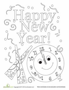 Worksheets: Happy New Year Coloring Sheet