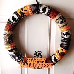 Halloween Fabric Wrapped Wreath