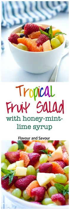 Fresh Fruit Salad With Honey-Mint Lime Dressing Recipe — Dishmaps