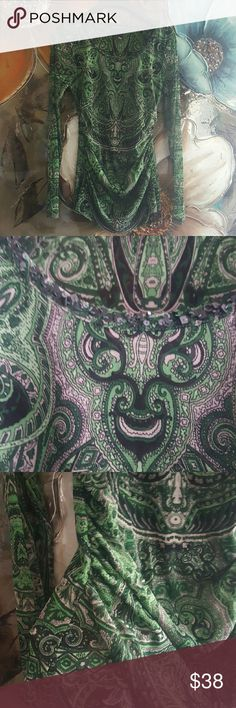 *JUST IN* INC Paisley top Fully lined shear long sleeve Paisley top. Color is hunter green. Beating detail around scoop neck. Rouge in on the side. Fit size 10/12 INC International Concepts Tops