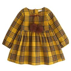 Fall Girls Dresses  Yellow Big Plaid Long Sleeve Girls Clothes Winter Baby Girls Birthday Party Dress with Pom
