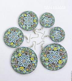 Купить Серьги восточные круглые большие синие из полимерной глины - серьги ручной работы